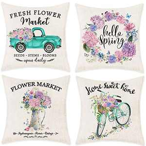 """Bonsai Tree Spring Pillow Covers, Hello Spring Wreath Couch Throw Pillow Covers 18""""x18"""", Farmhouse Fresh Flower Market Truck Bicycle Linen Pillow Cases Home Decorations for Sofa Set of 4"""