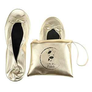 Ballet Flats Shoes -Women's Foldable Portable Travel Roll Up Shoes with Pouch (Gold, 6.5)