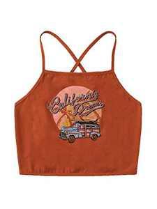 SheIn Women's Tropical Criss Cross Tie Back Crop Cami Top Spaghetti Strap Tank Top Orange X-Small