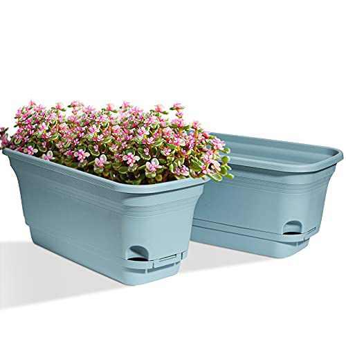 T4U Self Watering Planters Plastic Rectangular Plant Pot, Modern Decorative Flower Pot/Window Box for All House Plants, Flowers, Herbs, African Violets, Succulents - Blue, Set of 2
