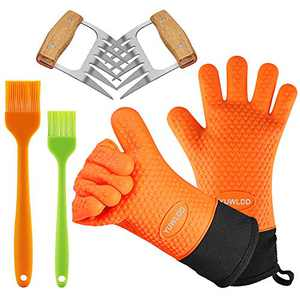3 in 1 BBQ Gloves Grill Accessories,Oven Mitts Extremely Heat Resistant Gloves,Grill Brush & BBQ Meat Claws for Grill,Baking,Cooking,Smoker Accessories