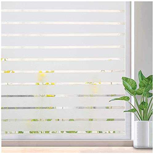 Viseeko Privacy Window Film Static Cling Non-Adhesive Glass Film Decorative Frosted Window Film Stripe Patterns for Home Office Kids Study Meeting Room (17.5 x 78.7Inches)
