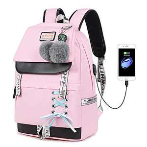 Lmeison Women Teen Girls Backpack Waterproof, Charging Bookbag with USB Charging Port, Oxford Travel Casual Daypack for Student 15.4 inch Laptop Bag for Middle School, Wear Resistant, Pink