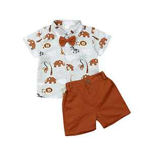 Little Baby Boy Cartoons Print Button Down T Shirt Dress Tops and Shorts Pants Gentlemen Outfit Casual 2pcs Summer Set (Elephant, 4-5 Years)