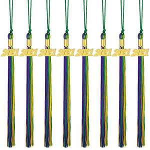 8 Pieces Graduation Tassel Graduation Cap Tassel with 2021 Year Charm for Graduation Parties, 9.4 Inches (Dark Green, Gold with Purple, 2021)