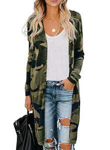 Chase Secret Womens Long Sleeve Camo Print Lightweight Open Front Cardigans Outwear Jackets Large Green