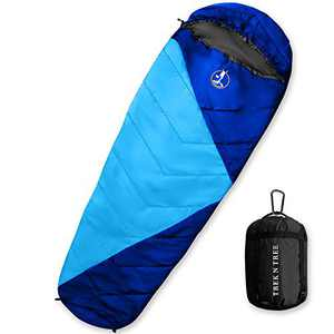 TREK N TREE - Mummy Sleeping Bag for Adults Lightweight & Portable Sleeping Bag with Compression Sack-320T Water Resistant with 2-Way Zipper & Drawstring- for Camping, Hiking, Traveling, Backpacking