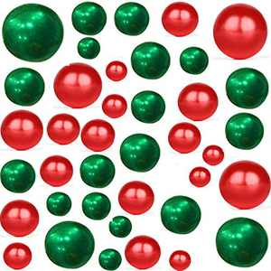 Z-synka140Piece Floating NO Hole Plastic Pearls + Includes 6Pack Transparent Water Gels for Floating The Pearls,Perfect for Wedding,Birthday Party Home Decoration etc,14 MM 20 MM 30 MM(Red,Green)