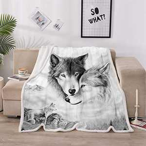 Sisher 3D Wolf Pattern Fleece Blankets, Boys Throw Blanket Sports Bed Blanket, Lightweight Super Soft Cozy Luxury Bed Blanket Microfiber for Sofa,Bed and Chair,Twin,60x80 Inch