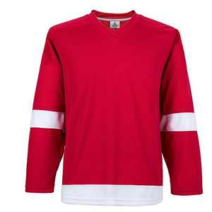 EALER H900-E Series Colors and Blank Ice Hockey League Sports Practice Jersey -Men and Boy- Adult and Youth-Senior to Junior(Red,Medium)
