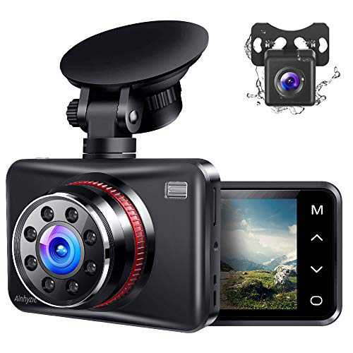 Ainhyzic Dash Cam Front and Rear Dual Dash Camera for Cars with FHD 1080P,Touch Button,170° Wide Angle, Infrared Night Vision, Motion Detection, G-Sensor, Loop Recording, Parking Monitor