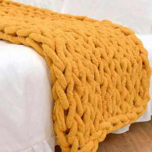 """Abound Chunky Knit Blanket Throw - 50""""x60"""" - Soft Chenille Yarn Knitted Blanket - Crochet Blanket - Cable Knit Throw Blanket - Couch, Bed, Weighted Chunky Blanket, Gift - Machine Washable (Yellow)"""