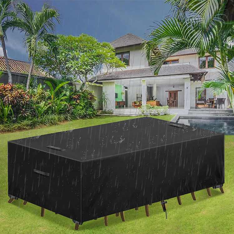 Essort Garden Furniture Covers Waterproof Garden Table Cover Rectangular 420D Heavy Duty Oxford Fabric Patio Furniture Covers Covers for Outdoor Rattan Furniture Cover Windproof Anti-UV 315x160x74cm