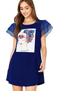 DIDK Women's Layered Mesh Short Sleeve Figure Graphic Dress Blue Large