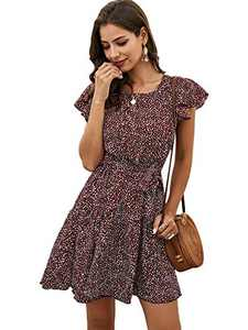 DIDK Women's Boho All Over Print Ruffle Hem Flounce Sleeve Babydoll Tunic Dress (Large, Burgundy)