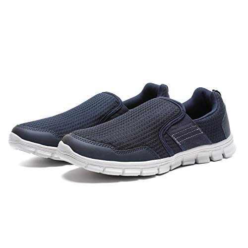 JIUMUJIPU Men's Slip-On Walking Shoes, with Memory Foam Insoles Lightweight Shoes (Dark Blue/White / 002-3, Numeric_12)