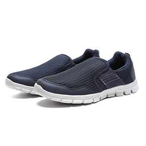 JIUMUJIPU Men's Slip-On Walking Shoes, with Memory Foam Insoles Lightweight Shoes (Dark Blue/White / 002-3, Numeric_12)
