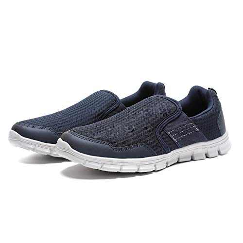 JIUMUJIPU Men's Loafers Slip-On Sneaker - Black,Brown,Navy Blue,Lightweight Walking Shoes (Dark Blue/White / 002-3, Numeric_11)