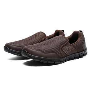 JIUMUJIPU Men's Slip-On Walking Shoes Sneakers, with Memory Foam Insoles Lightweight Shoes (Brown/Black / 002-2, Numeric_10)
