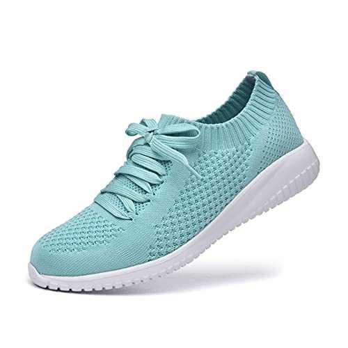 JIUMUJIPU Women's Walking Sneaker Slip-on Running Shoes - Black,White,Gray,Lightweight Mesh-Comfortable Tennis Shoe (Light Green/White / 004-6, Numeric_7_Point_5)