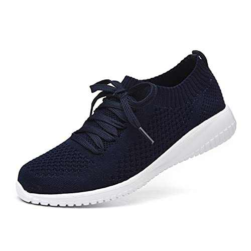 JIUMUJIPU Women's Walking Sneaker Slip-on Running Shoes - Black,White,Gray,Lightweight Mesh-Comfortable Tennis Shoe (Dark Blue/White / 004-4, Numeric_6)