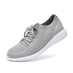 JIUMUJIPU Women's Slip-On Walking Shoes Running Tennis Mesh-Comfortable Lightweight Sneakers (Gray/White / 004-3, Numeric_7_Point_5)