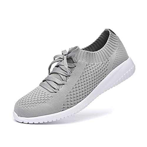 JIUMUJIPU Women's Walking Sneaker Slip-on Running Shoes - Black,White,Gray,Lightweight Mesh-Comfortable Tennis Shoe (Gray/White / 004-3, Numeric_6)