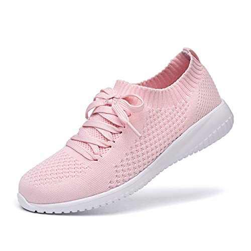 JIUMUJIPU Women's Walking Sneaker Slip-on Running Shoes - Lightweight Mesh-Comfortable Tennis Shoe (Pink/White / 004-5, Numeric_9_Point_5)