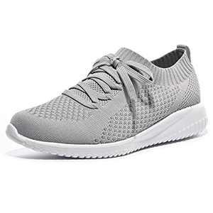 JIUMUJIPU Women's Walking Sneaker Slip-on Running Shoes - Black,White,Gray,Lightweight Mesh-Comfortable Tennis Shoe (Gray/White / 004-3, Numeric_9)