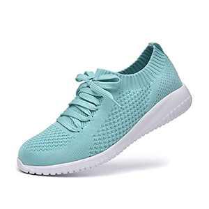 JIUMUJIPU Women's Walking Sneaker Slip-on Running Shoes - Black,White,Gray,Lightweight Mesh-Comfortable Tennis Shoe (Light Green/White / 004-6, Numeric_9_Point_5)