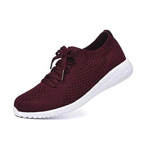 JIUMUJIPU Women's Walking Sneaker Slip-on Running Shoes - Black,White,Gray,Lightweight Mesh-Comfortable Tennis Shoe (Wine red/White / 004-7, Numeric_7)