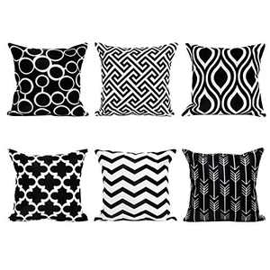 """Sue&Joe Throw Pillow Covers Linen Cushion Covers Square Decorative Pillowcases for Sofa Bedroom Car 18"""" x 18"""" Set of 6 Black"""