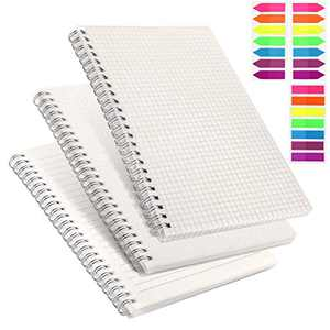 A5 Grid Notebook Spiral Set, 3pcs Dot/Graph/Lined Grid Transparent Hardcover Notebook with 480 Pages + Colorful Index Tabs, 80gsm Thick Paper,5.7 x 8.3 in by AGPTEK