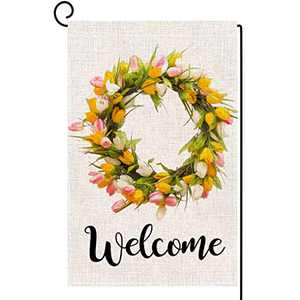 ORTIGIA Spring Welcome Tulips and Lily Wreath Garden Flag for Outside 12x18 inch,Seasonal Holiday Easter Mother's Day Yard Decor for Lawn Patio Outdoor