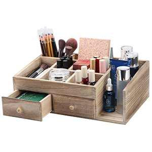 X-cosrack Rustic Wood Desk Cosmetic Office Drawer Jewelry Storage Organizer Box, Countertop Stationery Coffee Supplies Makeup Case for Bathroom Vanities Dresser Table-Patent Pending