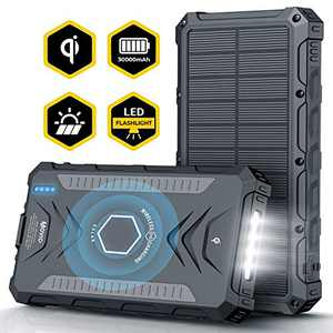 Movic Solar Power Bank 30000mAh | Portable Wireless Qi Charger | Type-C Dual 5V/3A Output & 2 Input | IPX67 Waterproof, Dust-Proof, Shockproof 4 LED Flashlight | Compatible iPhone & Android (Black)