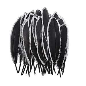 50pcs Natural Goose Feathers Dipped Gold Silver Goose Feather Length in 6-8inches for Party Decor Art Crafts(Black Silver Edge)