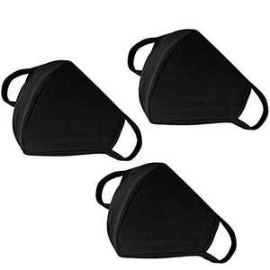 Yiiza Fashion Mouth Protection Unisex Washable and Reusable Cotton Warm Face Protection with Adjustable Bridge Design (3-Pack Black) (1)