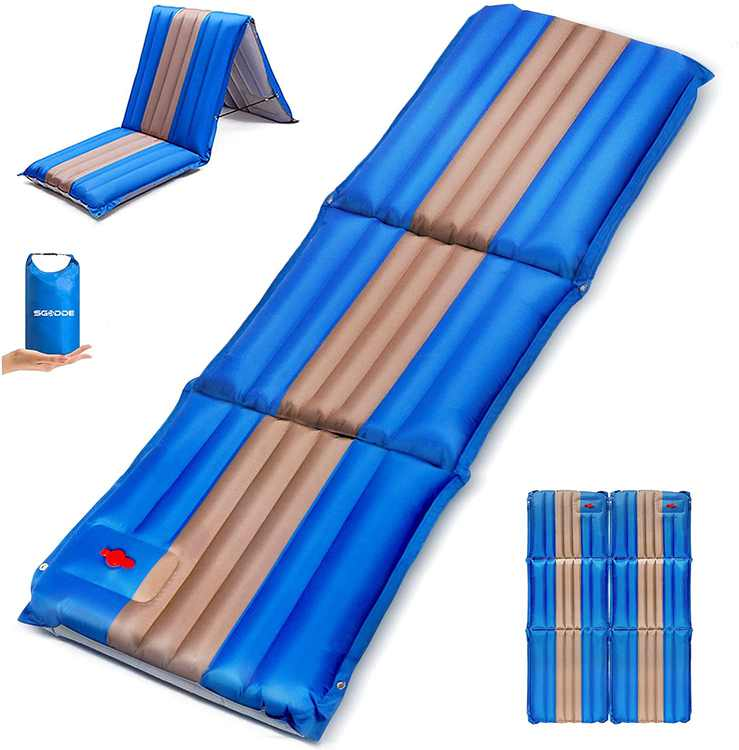 SGODDE Camping Mat, Self Inflating Camping Mat, 12cm Thick Ultralight Portable and Waterproof Non-Slip Tri-Folding sleeping Mat for Hiking, Travel, Backpacking(198cm * 70cm)