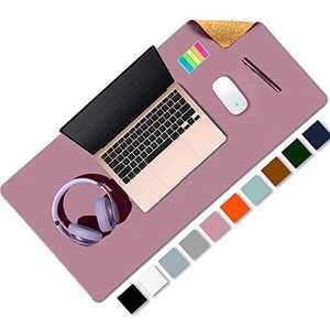 """Aothia Office Desk Pad, Natural Cork & PU Leather Dual Side Large Mouse Pad, Laptop Desk Table Protector Writing Mat Easy Clean Waterproof for Office Work/Home/Decor (Purple,31.5"""" x 15.7"""")"""