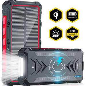 Movic Solar Power Bank 30000mAh | Portable Wireless Qi Charger | Type-C Dual 5V/3A Output & 2 Input | IPX67 Waterproof, Dust-Proof, Shockproof 4 LED Flashlight | Compatible for iPhone & Android (RED)