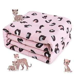 Sivio Kids Weighted Blanket, 1.4 kg, 90x120 cm, 100% Natural Cotton Heavy Blanket for Kids and Teens, Safe Glass Beads, Pink Leopard