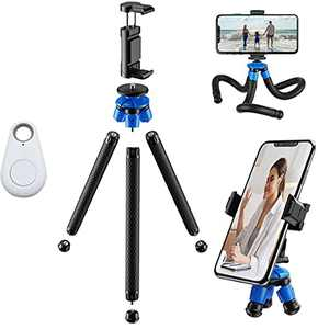 Phone Tripod Flexible Detachable Legs DIDAINT Camera Stand Holder 12.6inch with Wireless Remote, Universal Clip Compatible with iPhone, Cellphones, iPad, Sports Camera (Blue)