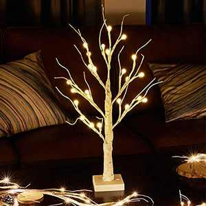 EAMBRITE White Birch Tree 24IN 24LT Lighted Frosted Ball Twig Tree with Timer for Home Wedding Holiday Birthday Party Decoration Indoor Use
