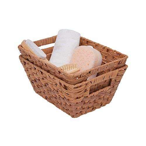 "GRANNY SAYS Imitation Wicker Baskets with Handles, Medium Hand-Woven Storage Baskets, Trapezoid Decorative Baskets, Walnut, 12"" x 9"" x 5.5"", Set of 2"