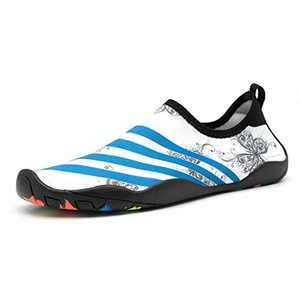 SaphiRose Sports Water Shoes Barefoot Quick-Dry Aqua Yoga Socks for Men Women Kids (White-666, 9.5 Women/8 Men)