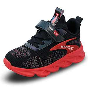 WYSBAOSHU Boys Sneaker Unisex Kids Sports Shoes Breathable Lightweight for Running Red-3 12.5 M US Little Kid