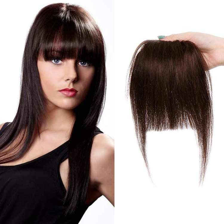 Clip in Fringe Thick Bangs Hair Piece Human Hair [#4 Medium Brown] Straight (23g)