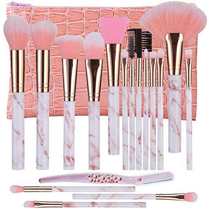 Makeup Brushes DUAIU 16Pcs Makeup Brush Set Blending Premium Synthetic Foundation Brush Eyeshadow Contour Blush Brush Silicone Facial Brush Eyebrow Razor With PU Makeup Bag Pink for Brushes Set