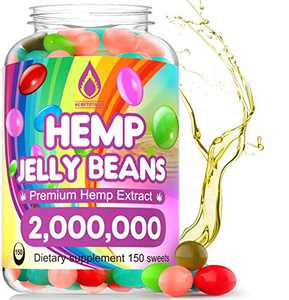 Hemp Jelly Beans for Stress & Anxiety 2,000,000 Premium Hemp Supplement to Reduce Inflammation, Improve Sleep, Boost Mood - 150 Cts